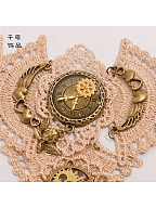Steampunk Gothic Lolita Scalloped Lace Gear Clock Finger Ring Lace Bracelet by Qian Chen Accessories