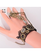 Steampunk  Lolita Vintage Clock Gear Finger Ring Bracelet by Qian Chen Accessories