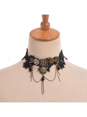 Steampunk Lolita Tassel Gear Black Lace Choker by Qian Chen Accessories