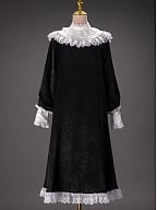 Vintage Black Dress with Lace and Pearls Decorated Stand Collar Custom Size Available by Queen Devil