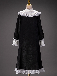 Vintage Black Dress with Lace and Pearls Decorated Stand Collar by Queen Devil