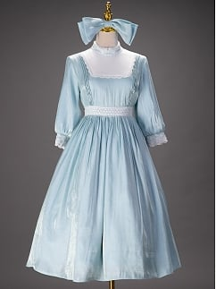 Girl Next Door Collection Shinning Blue Vintage Lolita Dress with Free Big Bowknot by Queen Devil