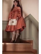 Girl Next Door Collection Brick Red Vintage Cute Long Sleeves Dress with Free Big Bowknot  Custom Size Available by Queen Devil
