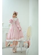 Girl Next Door Collection Pink Vintage Lolita Dress with Free Gold Trimming Big Bowknot Custom Size Available by Queen Devil
