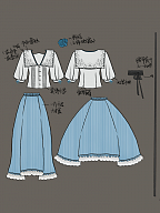Push it Up for Producing  - Vintage Lace Square Collar Blouse and Simple Designed Skirt with Belt