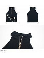 Ginkgo Leaves Embroidery Crop Top by Qing Tang Original