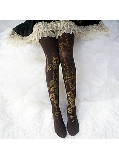 Steampunk Gear Gold Stamping Print Tights / Over Knee Stockings by Reina