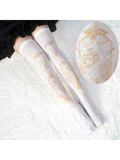 Summer Angel Gold Stamping Print Lolita Over Knee Stockings by Reina