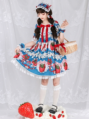 The Key of Strawberry Short Sleeves Sweet Lolita Dress OP by Royal Fairy Tale