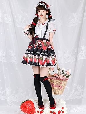 The Key of Strawberry Sweet Lolita Overall Skirt by Royal Fairy Tale