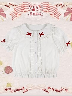 The Key of Strawberry Short Sleeves Sweet Lolita Shirt by Royal Fairy Tale