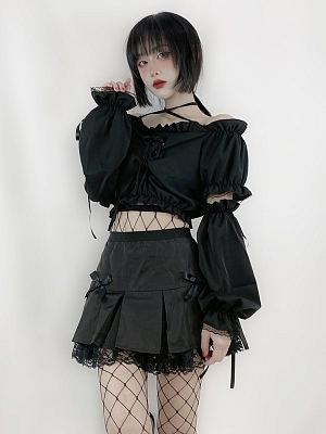 Y2K Black Off-the-shoulder Neckline Short Puff Sleeves Cropped Top with Arm Warmers by Rose and Smoker Gun