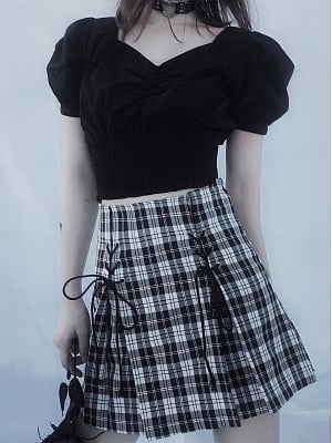 Black Short Puff Sleeves Cropped Top / Plaid Skirt by Rose and Smoker Gun