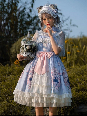 Nara Blossoms Sweet Lolita Dress JSK Plus Size by Sakurada Fawn