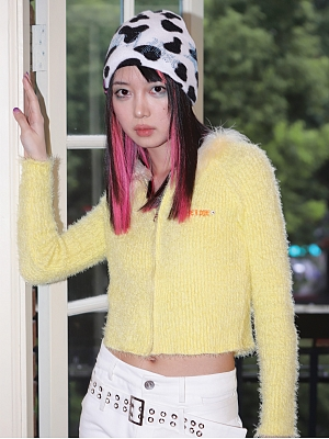 Goose Yellow Plush Knitted Cardigan by STRIKE A POSE