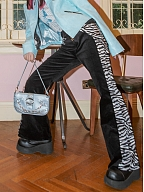 Corduroy Zebra Pattern Panelled Bell Bottom Trousers by STRIKE A POSE