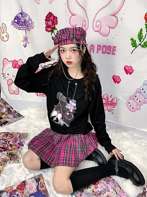 Detachable Plaid Beret by STRIKE A POSE