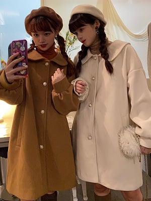 Autumn and Winter Woolen Coat with Bow Embroidery by Sankousan