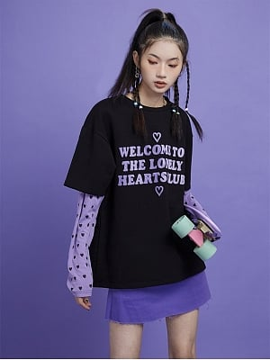 Lonely Heart Club Fake Two-pieces Long Sleeves Top by Sagi Dolls