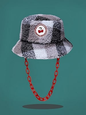 Cherry Embroidered Lambswool Bucket Hat by Sagi Dolls