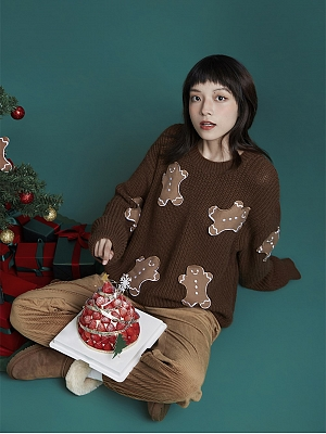 Coffee Gingerbread Christmas Round Neckline Long Sleeves Pullover Sweater by Sagi Dolls
