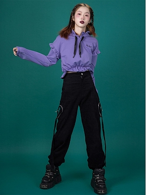 Black Heart-shaped Pocket Corduroy Cargo Pants by Sagi Dolls