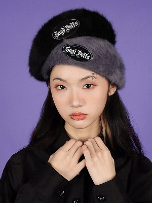 Dark Gray / Black Rabbit Fur Beret by Sagi Dolls