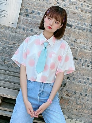 Peach Oolong Short Sleeves Shirt with Tie by Sagi Dolls