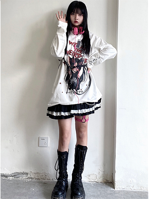 Anime Round Neckline Long Sleeves Print Sweatshirt by Sub Era