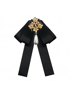 Baroque Antique Pearl Bow Fabric Brooch by SENLX