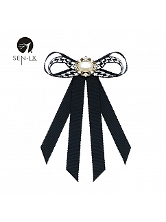 Houndstooth Pearl Bow Brooch by SENLX