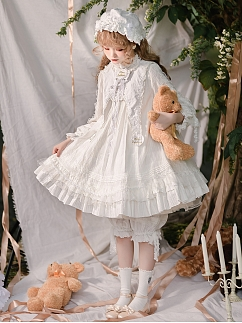 Cotton Retro Doll Lolita Dress OP Full Set by Concretionary Time Lolita