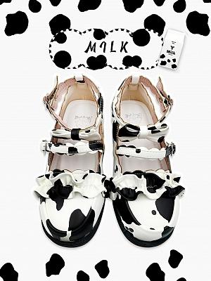 Milk Pattern Round Head Low-heel Shoes by Sheep Puff