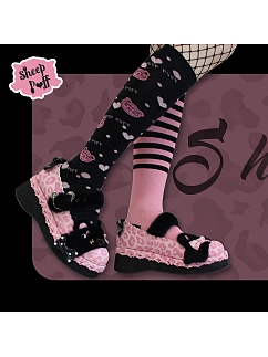 Pink--Leopard Candy Color Round Head Lolita Platforms Shoes by Sheep Puff
