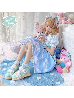 Candy Color Round Head Lolita Platforms Shoes by Sheep Puff
