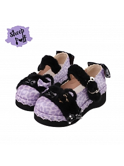 Purple--Leopard Candy Color Round Head Lolita Platforms Shoes by Sheep Puff