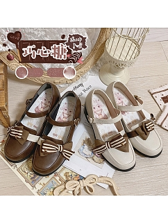 Chocolate Bonbon Round Toe Sweet Lolita Shoes by Sheep Puff