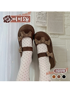 Cocoa Croissant Round Toe Lolita Shoes by Sheep Puff