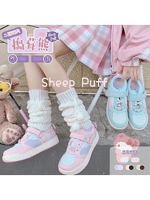 Strawberry Bear Lolita Sneakers by Sheep Puff