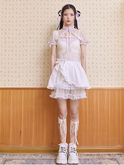 White Stand Collar Short Puff Sleeves Lace Trim Wave Point Qi Top by SOS SEAMSTRESS