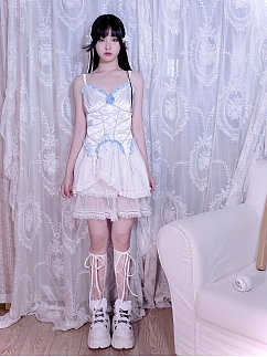 Vintage Blue and White Ruffled Sweetheart Neckline Lace-up Cami Top by SOS SEAMSTRESS