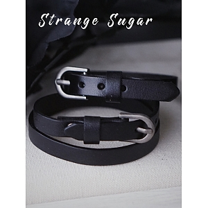 Black Leather Bracelet by Strange Sugar