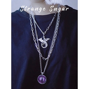 Triple-deck Silver Dragon Eye Necklace by Strange Sugar
