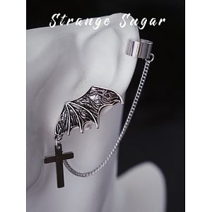 Single Silver Wing&Cross Ear Ring by Strange Sugar