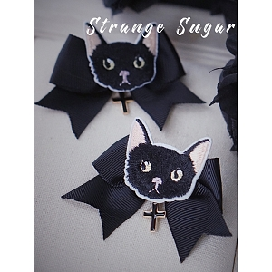 Black Cat Knot Hair Clip by Strange Sugar