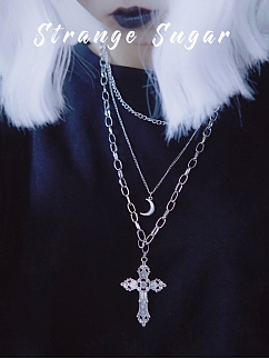 Silver triple-deck Holllow-out Cross Necklace by Strange Sugar