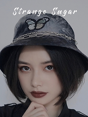 Dark Butterfly Chain Bucket Hat by Strange Sugar