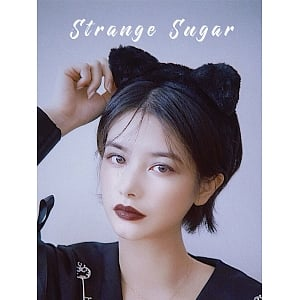 Black Furry Cat Ear KC by Strange Sugar