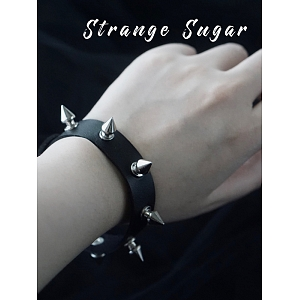 Black Leather Rivet Bracelet by Strange Sugar