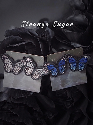 Embroidery Butterfly Ear Stud by Strange Sugar